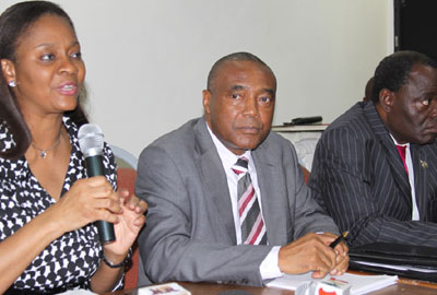 From left: Director General, Securities and Exchange Commission, Arunma Oteh; Interim Administrator, Nigerian Stock Exchange, Emmanuel Ikazoboh and President, Chartered Institute of Stock Brokers, Mr. Mike Itegboje, at a news briefing on the new admistration of the Nigerian Stock Exchange, NSE in Lagos.