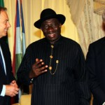 President Goodluck Jonathan (middle); former British Prime Minister, Mr. Tony Blair (left) and Chairman JP Morgan, Mr. Jamie Dimon during a consultative visit to President Jonathan at Aso Rock, Abuja. Photo by Abayomi Adeshida.