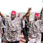Peoples Democratic Party, (PDP) South East zone presidential campaign rally yesterday in Enugu. President Goodluck Jonathan (middle); Vice President Namadi Sambo (right), Gov. Sullivan Chime of Enugu (left) and others. Photo: State House.