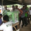 Voters being accredited before the postponement last Saturday