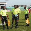 Referees preparing to kick-start a league match at the Dan Anyiam Stadium in Owerri. Former Golden Eaglets coach, Henry Nwosu has called on the NPL to enforce the use of good turfs like this one pictured here to ensure the league improves.