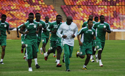 Super Eagles in one of their trainings