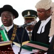 President Jonathan taking his oath of office.