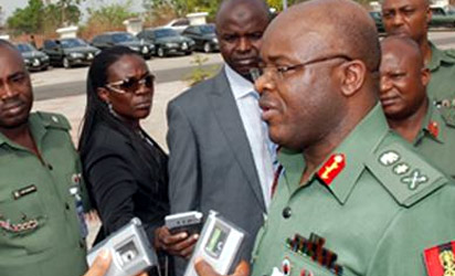 Lt General O. A Ihejirika, Chief of Army Staff, Nigerian Army speak to press