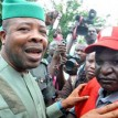 "Deputy Speaker, House of Representatives, Chief Emeka Ihedioha (l), with NLC President, Comrade Abdulwaheed Omar, during a ""Save Our Nation rally"" at the National Assembly in Abuja"