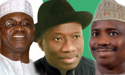 David Mark, President Goodluck Jonathan and Aminu Tambuwal