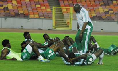Coach Steven Keshil training the Super Eagles in Abuja.