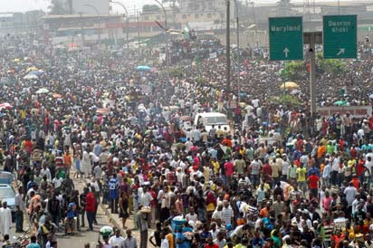 Subsidy Protest: Protesters at the Gani Fawehinmi Park Ojota,Lagos