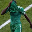 *FACE OF DEFEAT … A Super Eagles player covering his face after a failure