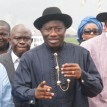 President Goodluck Jonathan (middle); Governor Emmanuel Uduaghan of Delta State (left) and Governor Seriake Dickson of Bayelsa State during President Jonathan's stop-over at Warri Airport enroute Bayelsa State to inspect the explosion on Chevron platform, yesterday. Photo: Henry Unini.