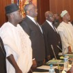 From the right, Vice Prresident Namadi Sambo; SGF, Senator Pius Anyim; Head of Service, Alhaji Saleh Belo; Chief of Staff to the President, Chief Mike Oghiadomen; National Security Adviser, Gen. Owoye Azazi; Youth and Sports Minister, Mr. Bolaji Abdullahi and the Works Minister, Arc. Mike Onolememen singing the national anthem during the opening of the Federal Executive Council Meeting chaired by the Vice President at the State House, Abuja. Photo by Abayomi Adeshida