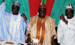 L-r: Governor Patrick Ibrahim Yakowa of Kaduna State with chairman, Northern Governors Forum, Dr Babangida Aliyu of Niger State and Governor Gabriel Suswam of Benue State at one of their meetings in Kaduna