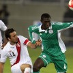 CONTEST... Peru's Claudio Pizarro vies for the ball with Super Eagles Gabriel Ruben during their friendly match in Lima thursday morning. Peru won 1-0.