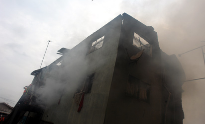 The affected building at Popoola street, off Toye Junction, Iju Lagos.