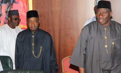 From right: President Goodluck Jonathan; Vice President Namadi Sambo and Senate President David Mark arrving for the meeting of the Heads of Arms of Government at the Aso Chambers, State House, Abuja, yesterday. Photo: Abayomi Adeshida.