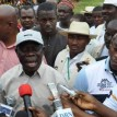 Governor Adams Oshiomhole of Edo State addressing journalists at Iyamho Primary School.
