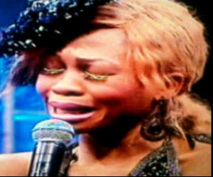*Goldie in tears at the eviction show  at the Big Brother Africa