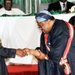 President Goodluck Jonathan (l), presenting GCON  Merit Award to Chief Mike Adenuga at the 2012 National Honours Award in Abuja on Monday (17/9/12)