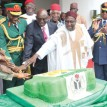52ND ANNIVERSARY CAKE: President Goodluck Jonathan flanked by Gen.Gowon (third left);  David Mark,  Dr Alex Ekwueme; Vice Prresident Namadi Sambo (second left) and other dignitaries during the cutting of the 52nd Independence anniversary cake Photo: Abayomi Adeshida.