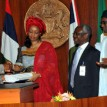 From left: President Jonathan, Minister of Petroleum Deziani Allison-Maduake, Mr. Dotun Suleiman, Chairman, Special Task Forces on Governance and Control; Mallam Nuhu Ribadu, Chairman Petroleum Revenue Special Tsks Force and Alternate Chairman, Refineries Special Task Force, Alhaji Yusuf Alli during the presentation of reports of the  Petroleum Special Tasks Forces at the Presidential Villa, Abuja .