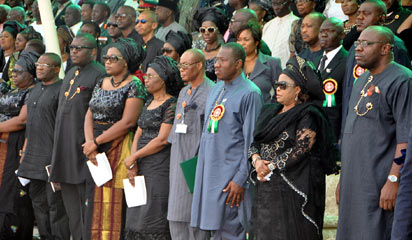 PRESIDENT GOODLUCK JONATHAN (3RD R) REPRESENTATIVE OF THE VICE PRESIDENT, PROF TAMUNO BENEBO (4TH R); FIRST LADY,  DAME PATIENCE JONATHAN (2ND R) GOV SERIAKE DICKSON OF BAYELSA