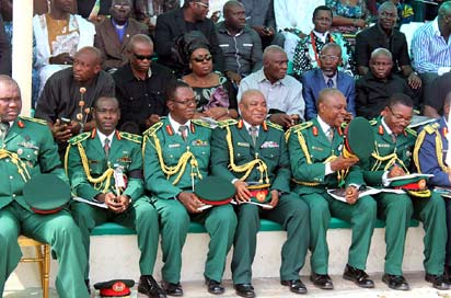 Military officers and other guests at the service.