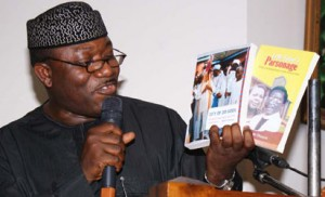 Dr. Kayode Fayemi of Ekiti State presenting the book at the occassion. Photo by Lamidi Bamidele