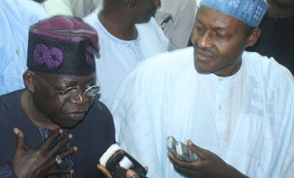 File photo; Tinubu and Buhari - leaders of ACN and CPC