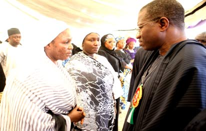 President Goodluck Jonathan consoling  Amina, the wife of late Governor of Kaduna State, Sir Patrick Yakowa during the funeral service, yesterday at Fadan Kagoma, Kaduna.