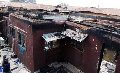 the scene of the fire accident at Alaafin Palace,Oyo PHOTO BY SHOLA OYELESE, IBADAN