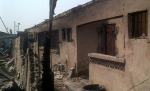 *Remnants of the burnt buildings on Jones Street, Ebute Metta, Lagos. Photo: Monsur Olowoopejo.