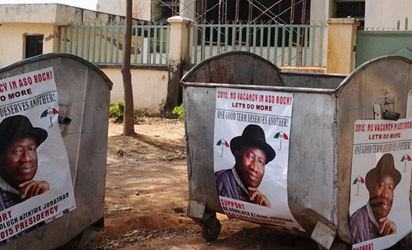 Jonathan's 2015 Campaign Posters Flood Abuja (Photo)