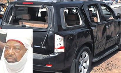 The Emir's vehicles riddled with bullets during the attack. Inset: Emir of Kano, Alhaji Ado Bayero