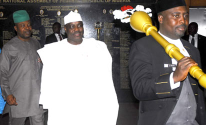 Reps Resume: Speaker House of Representatives, Mallam Aminu Tambuwal (2nd right); Deputy Speaker, Mr Emeka Ihedioha (2nd left); House Leader, Hajia Mulikat Adeola (left) resuming 2013 plenary session at National Assembly, Abuja, yesterday. Photo: Gbemiga Olamikan.