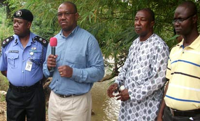 Gov. Peter Obi (2nd left), with his Security Adviser, Col George Molokwu (rtd) (2nd right), the Anambra State  Commissioner for Police, Bala Nasarawa (1st left) and the Political Adviser, Fidelis Okafor(1st right)