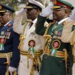 The Chief of Defence Staff, Admiral Ola Ibrahim, other Service Chiefs and the Inspector General of Police, taking the salute during the Wreath Laying Ceremony to mark the 2013 Nigerian Armed Forces Remembrance Day celebration at the Cenotaph, Eagle Square, Abuja, yesterday.	 Photo:Abayomi Adeshida