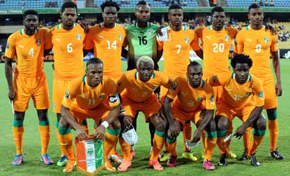 Ivory Coast team that played Algeria pose during  a 2013 African Cup of Nations Group D match in Rustenburg on January 30, 2013 at Royal Bafokeng Stadium. Front row L-R : Forward Didier Drogba, Forward Arouna Kone , Defender Arthur Boka, Forward Wilfried Bony, Back row L-R:  Defender Kolo Toure,  Midfielder Romaric,  Defender Ismael Traore, Goalkeeper Daniel Yeboah, Midfielder Abdul Razak, Defender Igor Lolo and Forward Salomon Kalou .AFP PHOTO