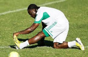 EXERCISING.... Super Eagles striker excercising his foot before a match. Will he be fit enough to battle Burkina Faso Sunday?