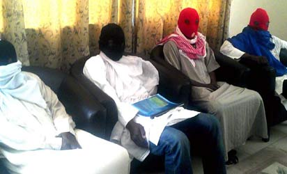 Members of Boko Haram splinter group during a news conference in Maiduguri, Saturday where they insisted on a cease-fire. Photo: Nan.