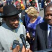 President Goodluck Jonathan (l) addressing newsmen shortly on arrival at the Yamoussoukro International Airport, Cote D'ivoire for the 42nd Ordinary Summit Of Heads Of State and Government of ECOWAS on Wednesday (27/2/12).with him is President Alassane Ouattara of Cote D'ivoire.