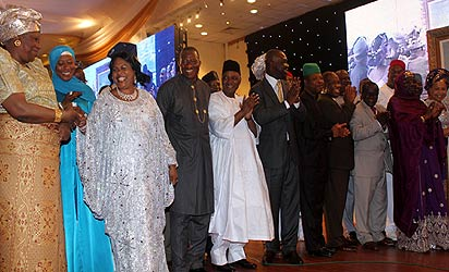 RECEPTION FOR FIRST LADY—From left: Chief Justice of the Federation, Justice Aloma Mukhtar; wife of the Vice President, Hajiya Aminat Sambo; First Lady, Dame Patience Jonathan; President Goodluck Jonathan; Vice President Namadi Sambo; Deputy Senate President, Senator Ike Ekweremadu; Deputy Speaker, Hon. Emeka Ihedioha and members of the Federal Executive Council during a reception for the First Lady at the Banquet hall, State House, Abuja, yesterday.  Photos: Abayomi Adeshida. See more pictures on Page 13.