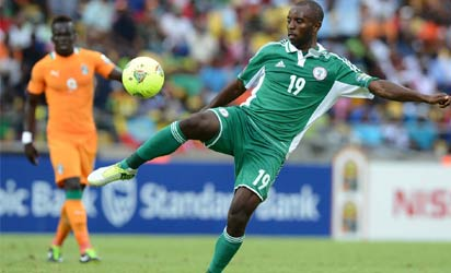 Nigeria's forward Sunday Mba during the 2013 African Cup of Nations quarter final between  Ivory Coast and Nigeria