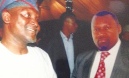 Onwuka (r) in superimposed picture with business mogul, Alhaji Dangote
