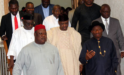 From right, President Goodluck Jonathan; Vice President Namadi Sambo and the SGF Senator Pius Anyim arriving for the Corporate Dinner for the Centenary Celebrations at the Banquet Hall, State House, Abuja. Photo by Abayomi Adeshida...Thursday night