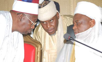 JNI MEETING: From right: Sultan of Sokoto and President-General, Jama'atu Nasril Islam, Jni, Alhaji Sa'ad Abubakar III; Secretary-General, Jni, Dr. Khalid Abubakar and the Shehu of Borno, Alhaji Abubakar Garbai El-Kanemi, during the Jni Annual Central Council meeting, in Kaduna, yesterday. Photo: Olu Ajayi.