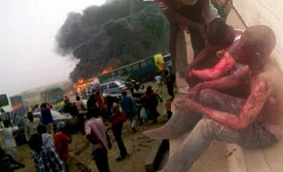 KANO  BOMBING—Victims of the Kano suicide bombing and some of the affected buses yesterday as smoke billowed from the bus park.