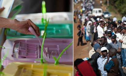 KENYA, Nairobi : Voters queue to cast their ballot at St. Matthews Church in the Langata constituency of the Kenyan capital, Nairobi, on March 4, 2013 during the Kenyan elections. Long lines of Kenyans queued from far before dawn