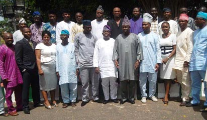 ALL FOR PEACE: Governor Ibikunle Amosun of Ogun State (5th right), with state House of Assmbly members, after the peace meeting held to resolve the crisis that rocked the House,  the at Governor's Office in Abeokuta, Wednesday. Photo: Wumi Akinola.