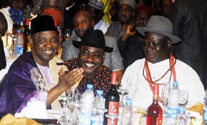 Edwin Clark @ 86th: From Left, Vice President Namadi Sambo, Publisher of Nigeria Pilot, Prince Dennis Sami and the Celebrant, Chief Dr. Edwin Clark chatting during  86th Birthday of Chief Edwin Clark held in Abuja. Photo by Gbemiga Olamikan.