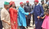 From Left; Deputy Speaker, House of Reps, Emeka Ihedioha; Minister of Aviation, Princess Stella Oduah; Former Vice-President Alex Ekwueme; Deputy Senate President Ike Ekweremadu Welcoming President Goodluck Jonathan to the foundation laying of the New International Terminal and the Inauguration of the remodelled Terminal of Akanu Ibiam International Airport Enugu on Saturday (18/5/13).